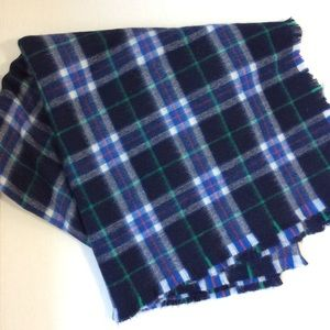 Accessories - Navy Blue Plaid Raw Edge Large Blanket Scarf OS